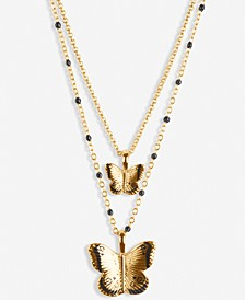 "Gold-Tone Butterfly 17"" Layered Pendant Necklace"