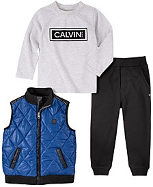 Toddler Boys Quilted Nylon Vest with Heathered Long Sleeve Tee and Fleece Pant, 3 Piece Set