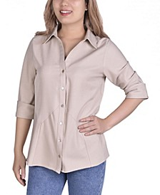 Women's Button Front Blouse with Wide Cuff