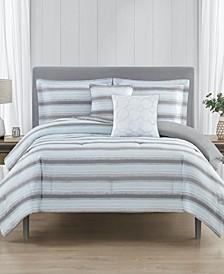 Relaxed Stripe Reversible 5-Pc Queen Comforter Set