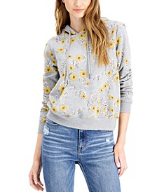Juniors' Sunflower-Print Hoodie Sweatshirt