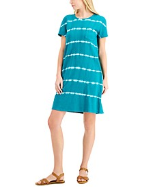 Petite Cotton Tie-Dyed T-Shirt Dress, Created for Macy's
