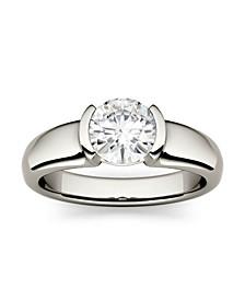 Moissanite Semi-Bezel Solitaire Ring 1 ct. t.w. Diamond Equivalent in 14k White Gold