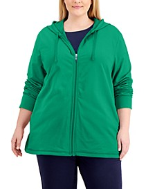 Plus Size Zippered Hoodie, Created for Macy's