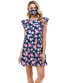 Be Bop Juniors' Fit & Flare Dress & Face Mask