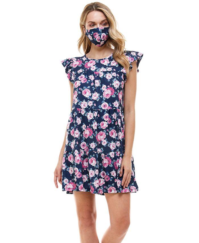 Be Bop - Juniors' Floral Fit & Flare Dress & Face Mask