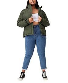 Trendy Plus Size Crinkle Puffer Jacket