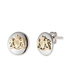 Sterling Silver and 18K Gold Over Sterling Silver Crest Stud Earring