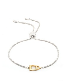 Sterling Silver Chain with 18K Gold Over Sterling Silver Stirrup Slider Bracelet