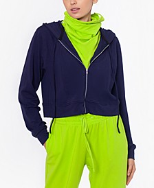Cropped Zip Up Hoodie with Removable Dickie Mask, Created for Macy's