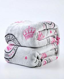 Crown Script Plush Throw Blanket