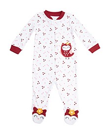 Girls Owl Footed Coverall
