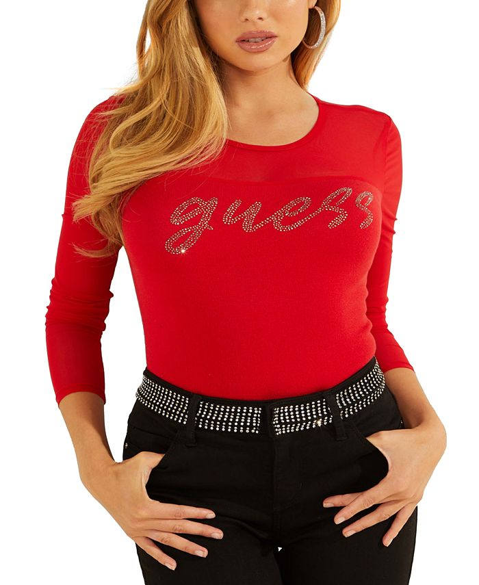 GUESS - Embellished Sheer-Contrast Sweater