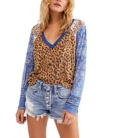 Friday Night Long-Sleeved Mixed-Print T-Shirt