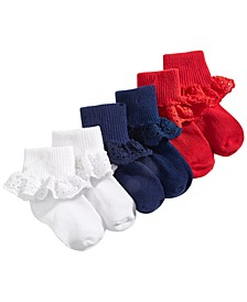 Baby Girls 3-Pack Eyelet Anklet Socks, Created for Macy's