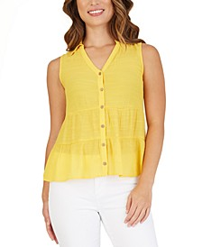 Juniors' Tiered Button-Front Blouse