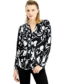 INC Plus Size Abstract Zipper Pocket Blouse, Created for Macy's