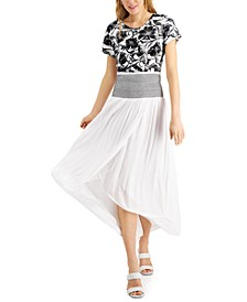 INC Smocked-Waist Tulip-Hem Skirt, Created for Macy's