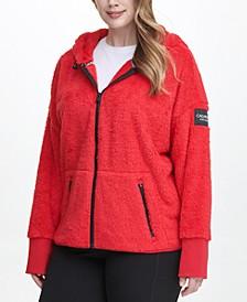 Plus Size Fleece Zip-Front Hooded Jacket