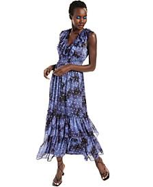 INC V-Neck Ruffled Foil-Printed Chiffon Maxi Dress, Created for Macy's