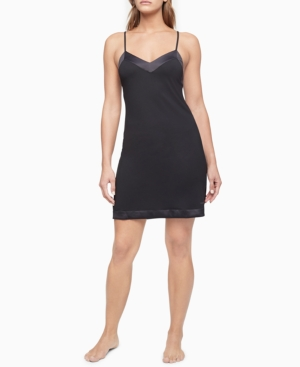 Calvin Klein Chemises SATIN-TRIM CHEMISE NIGHTGOWN