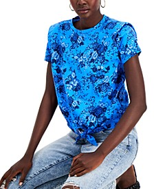 INC Cotton Printed Bold Shoulder Tie-Front Top, Created for Macy's