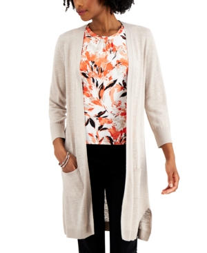 3/4-Sleeve Open-Front Cardigan