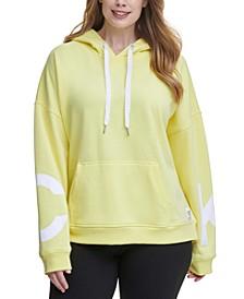 Plus Size Dropped-Shoulder Hooded Logo Sweatshirt