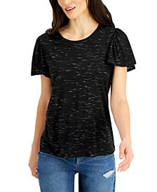 Petite Angelina Flutter-Sleeve Top, Created for Macy's