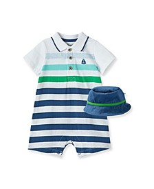 Baby Boys Striped Boat Romper with Hat