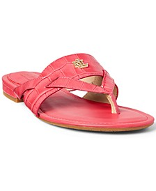 Women's Rosalind Croc-Embossed Thong Sandals