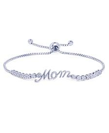 Diamond Accent Mom Adjustable Bolo Bracelet in Fine Silver Plate
