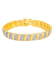 Diamond Accent S Link Bracelet in Gold-Plate