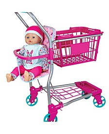 "Lissi Dolls Shopping Cart with 16"" Baby Doll"