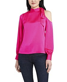 Women's Long Sleeve Cold Shoulder Tie Neck Blouse