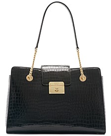 Lilian Croc Embossed Leather Tote