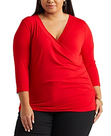 Plus Size Faux-Wrap Jersey Top
