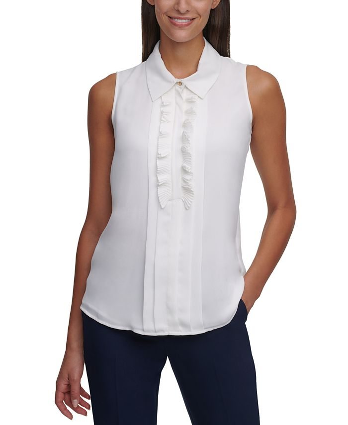 Tommy Hilfiger - Ruffle-Front Sleeveless Top