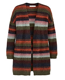 Women's Ombre Stripe Open Cardigan