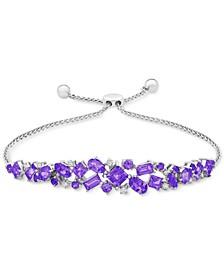 Amethyst (7/8 ct. t.w.) & Diamond (1/10 ct. t.w.) Scatter Cluster Bolo Bracelet in Sterling Silver