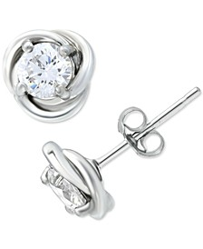 Cubic Zirconia Love Knot Stud Earrings in Sterling Silver, Created for Macy's