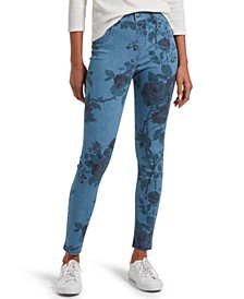 Women's Faded Floral Ultra Soft Denim High Waist 7/8 Legging