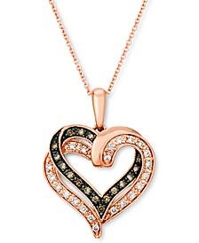"Nude Diamond (1/6 ct. t.w.) & Chocolate Diamond (1/8 ct. t.w.) Heart 18"" Pendant Necklace in 14k Rose Gold"