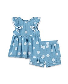 Baby Girls Polka Dot Woven Top and Shorts Play Set, 2 Piece