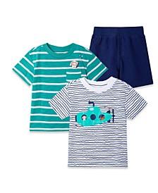 Baby Boys Submarine T-shirt and Shorts Play Set, 3 Piece