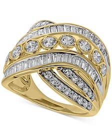 Diamond Crossover Statement Ring (2 ct. t.w.) In 14K Gold Or 14K White Gold