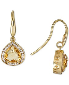 Citrine (4 ct. t.w.) & White Topaz (5/8 ct. t.w.) Drop Earrings in 14k Gold-Plated Sterling Silver