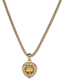 """Citrine (5/8 ct. t.w.) & White Topaz (1/4 ct. t.w.) Heart Pendant Necklace in 14k Gold-Plated Sterling Silver, 17"""" + 1"""" extender (Also in Citrine)"""