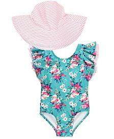 Baby Girls Butterfly Sleeve 1-Piece Swim Hat Set