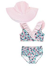 Baby Girls Ruffled Bikini Swim Hat Set